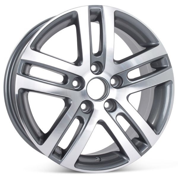 """New 16"""" Alloy Wheel for Volkswagen Jetta VW 2005-2018 Machined with Charcoal Rim 69812"""