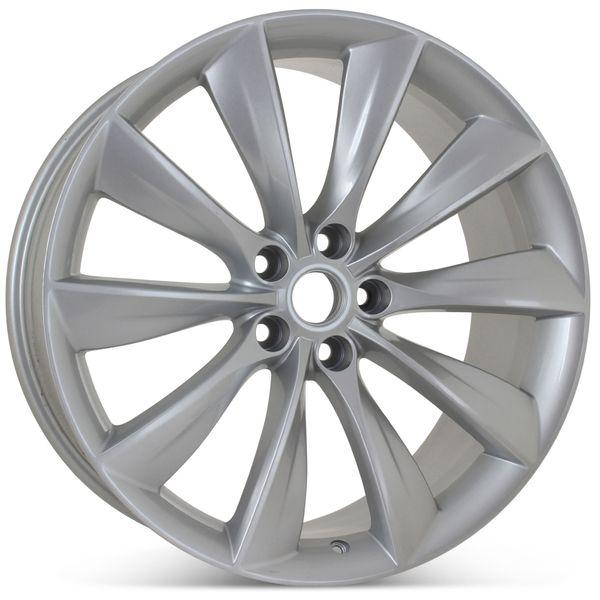 """21"""" x 9"""" Rear Wheel for Tesla Model S 2012 2013 2014 2015 2016 2017 Silver Rim 97095 Open Box"""