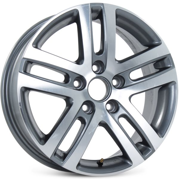 """16"""" Alloy Replacement Wheel for Volkswagen Jetta VW 2005-2015 Machined Charcoal Rim 69812 Open Box"""