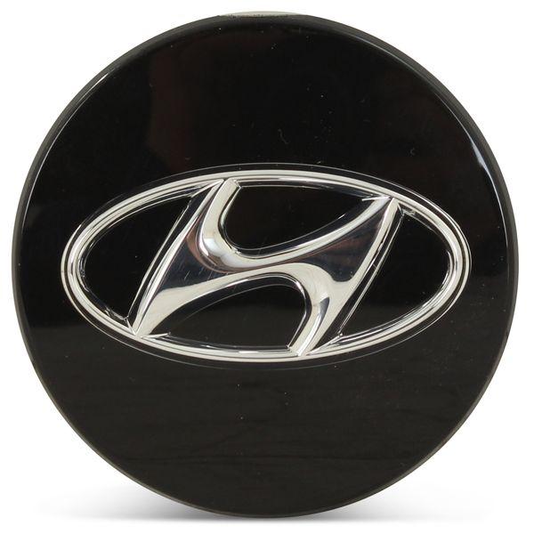 OE Genuine Hyundai Black Center Cap W/Chrome Logo CAP3000