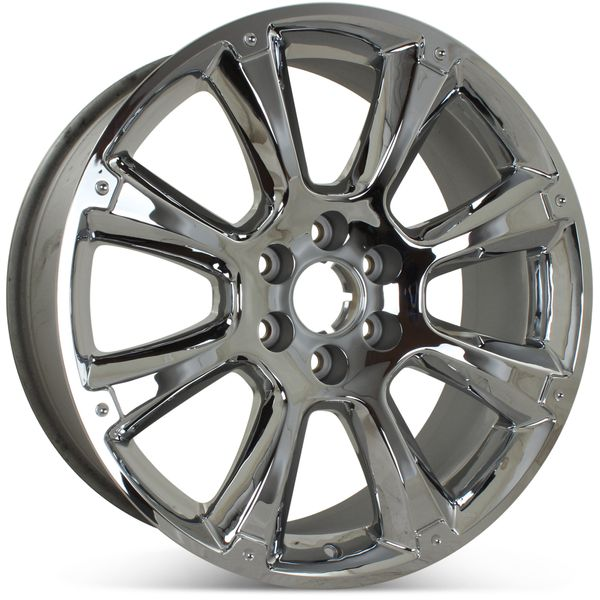 "New 22"" GMC Sierra Denali Yukon Suburban 2011 2012 2013 2014 Factory OEM Wheel Rim 5410 Chrome Open Box with specs in chrome"