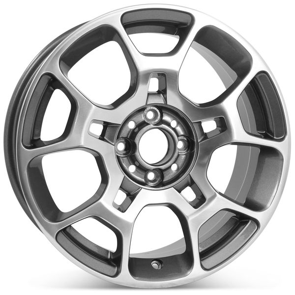 "New 16"" Alloy Replacement Wheel for Fiat 500 2012 2013 2014 2015 2016 Machined W/ Charcoal Rim 61663"